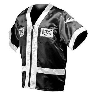 NEW Men's Everlast Boxing Corner Cut Man Jacket Robe Size: Small Color: Black