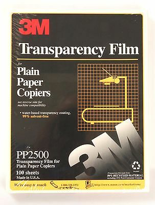 3m Transparency Film PP2500 100-sheets Unopened Factory Sealed for Plain Copier
