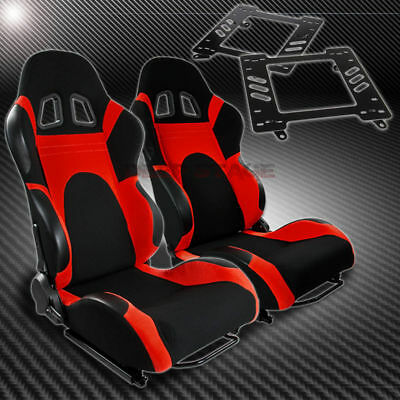 For 93-02 Camaro/trans Am Bracket+T-6 Reclining Black Red Woven Racing Seat X2