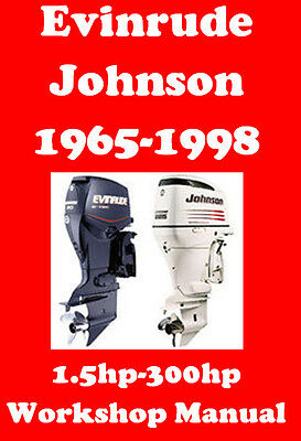 EVINRUDE JOHNSON OUTBOARD 1965-1998 1.5hp-300hp WORKSHOP MANUAL CD - THE BEST !!