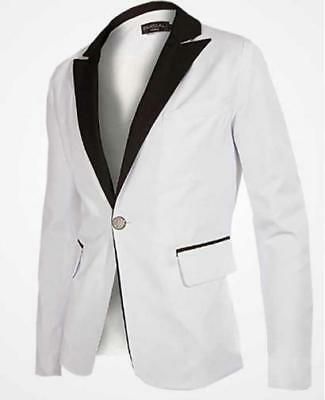 New Men'S Business Slim White Tuxedo Dress Blazer (Only Blazer)