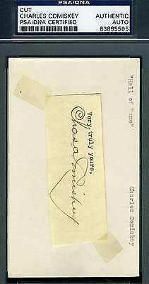 Charles Comiskey 3X5 Index Cut Psa/dna Signed Authentic Autograph
