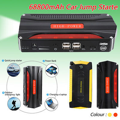 68800mAh Portable Car Jump Starter Pack Booster Battery Charger 4 USB Power Bank