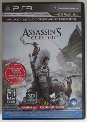 Ps3 Assasin's Creed 3 Display Case Only - No Disc !!            (Inv12872)