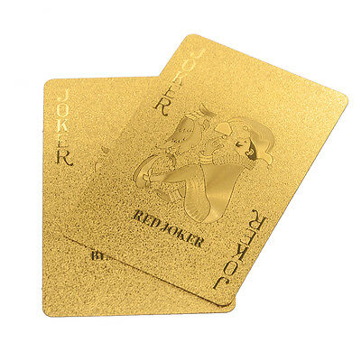 1Set Playing Cards Gold Foil Plated Poker Deck 52+2 Collection Poker New Fashion