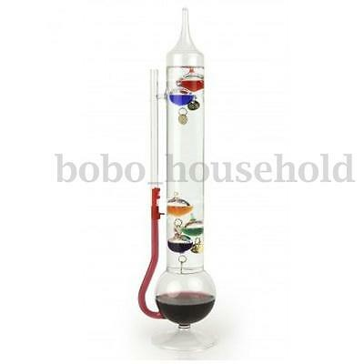Galileo Glass Thermometer Floating Colored Liquid 5 Balls Temperature Barometer