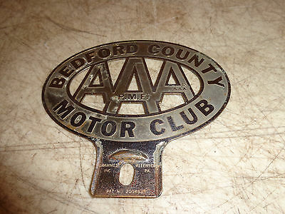 Bedford pa AAA PMF Motor Club Topper Badge Emblem License Plate Attachment P.M.F