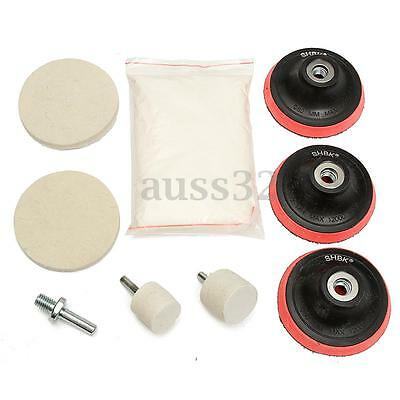 8 OZ Glass Scrach Remover Polishing Kit Cerium Oxide Compound With Felt Wheels
