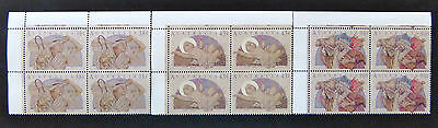 Australian Decimal Stamps:1991 Christmas - Set of 3x4 with Tabs MNH