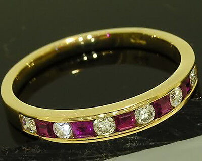 R165 Genuine 18K Solid Gold NATURAL Diamond & Ruby ETERNITY Wedding Ring size M