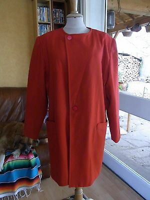 "Veste Manteau Femme Laine Rouge ""jousse"" T42 Vintage 90 Woman Red Jacket Coat L"