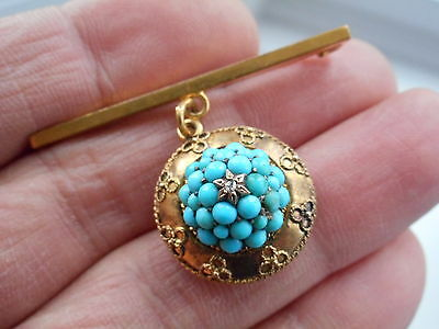 Antique Victorian 18Ct Gold Turquoise Diamond Locket Back Pendant + Brooch Mount