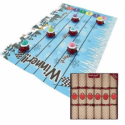 6 x RACING ROBINS CHRISTMAS CRACKERS by ROBIN REED includes RACE MAT