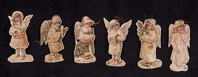 Vtg Merrimack Victorian Snow Angel Girls Cardboard Die Cut Christmas Ornaments