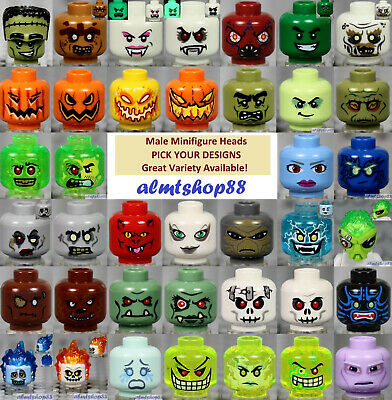 LEGO - Minifigure Heads - PICK YOUR DESIGN Monster Alien Zombie Halloween Trolls