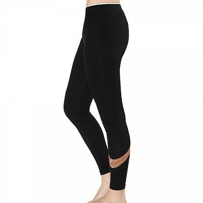 NEW Womens Nike Club Logo 2 Gym Sports Workout Fitted Leggings - Black & Bronze
