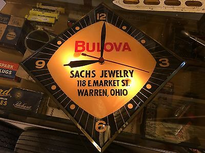 OLD ORIGINAL AnTiQuE BULOVA Sachs Jewelry ADVERTISING CLOCK Lighted WORKS Sign