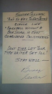 Buddy Lester written note and signed to Jim Murray sports writer  1998