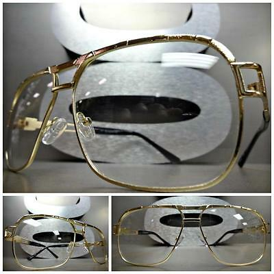 CLASSIC VINTAGE 70's RETRO Style Clear Lens EYE GLASSES Large Gold Fashion Frame