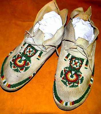 "Vintage Antique 9.75"" Native American Indian Beaded Moccasins"