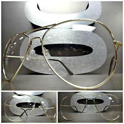CLASSIC VINTAGE Cool RETRO Style Clear Lens EYE GLASSES Gold Metal Fashion Frame