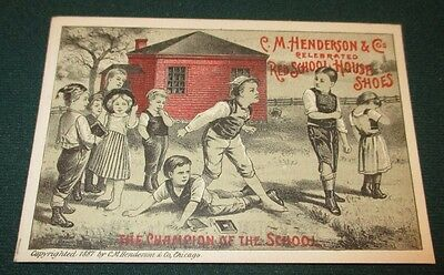 1887 Fighting Champion Henderson Red School House Shoes Adv Trade Card Dakota IL
