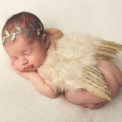 Newborn Photograph Props Baby Costume Leaves Headband + Feather Angel Wings