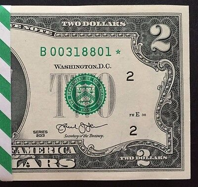 2013 Star Note ,New York (1) $ 2 Dollar ,Low number, uncirculated,consecutive