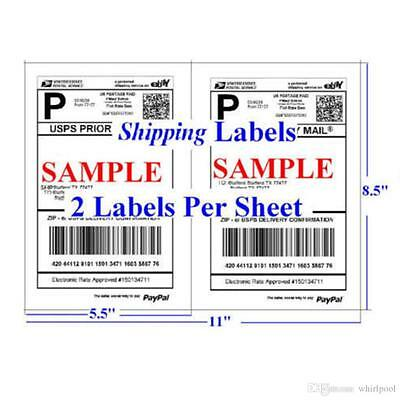 "Shipping Labels 50 Self Adhesive 2/sheet 8.5"" x 5.5"" USPS/PayPal/eBay Postage"