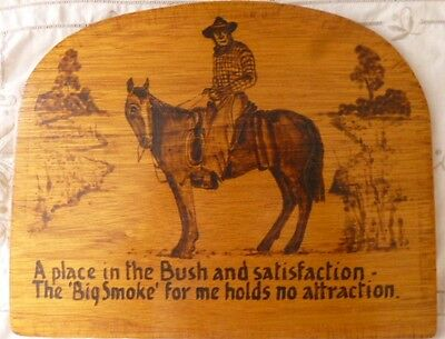 Vintage retro  Australiana outback bush art horse wood burning folk art drover