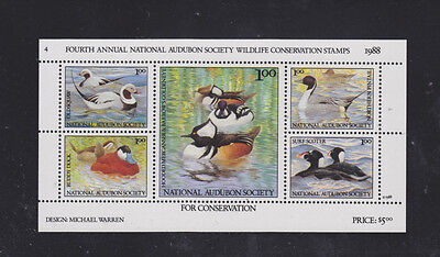 Wildlife Conservation Stamps - National Audubon Society - 1988 Sheet of 5 - NH