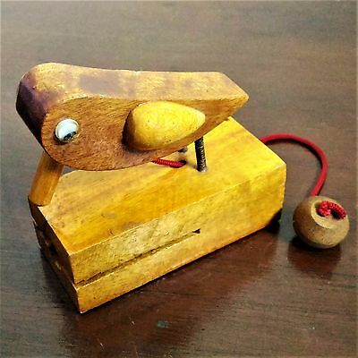 Door Knocker Handcrafted Woodpecker Old Fashioned Rustic Wooden Toy