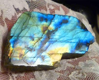 A+ BLUE & YELLOW Labradorite Slab gemstone for cabochons 290cts