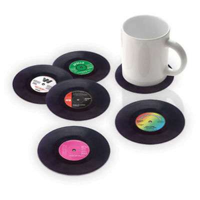 1 / 6PCS Vinyl Coaster Groovy Record Cup Drinks Holder Mat Tableware Placemat