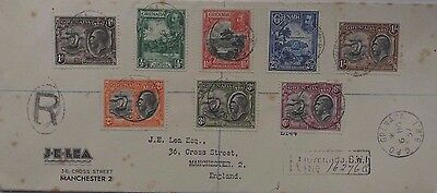 Grenada 1937 Eight Colour Franking King George V Registered Cover To England