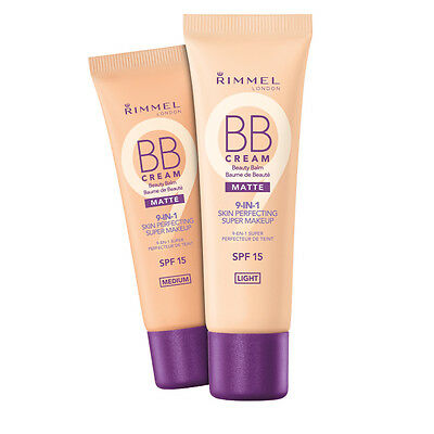 Rimmel BB Cream Matte 9-in-1 Skin Perfecting Makeup SPF15 30ml- All Shades
