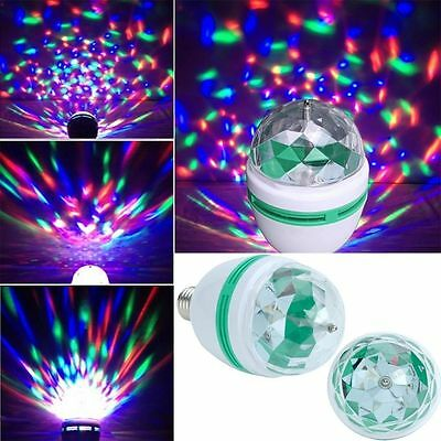 Novelty RGB LED Disco Light Bulb Rotating Coloured 3W Light bulb Christmas
