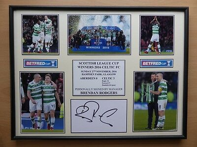 2016 Celtic Scottish League Cup Winners Display Signed by Brendan Rodgers (9433)