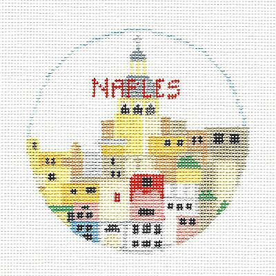 NAPLES, ITALY handpainted Needlepoint Canvas Ornament by Kathy Schenkel RD.