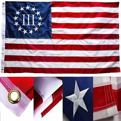 3x5 Embroidered Betsy Ross Nyberg 3% III 220D Sewn Nylon Flag 3'x5'