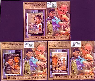 {{{{{ COLLECTION CHESS  MASTERS 12 SCANS IMPERF Ungezähnt LUX BLOCK MNH SUPERB