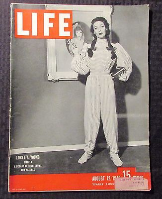 1946 LIFE Magazine - August 12 VG 4.0 Loretta Young Cover