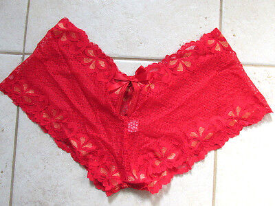 scarlet racey lacey red erotic boyshorts boxers knickers panties size 8/10 NEW