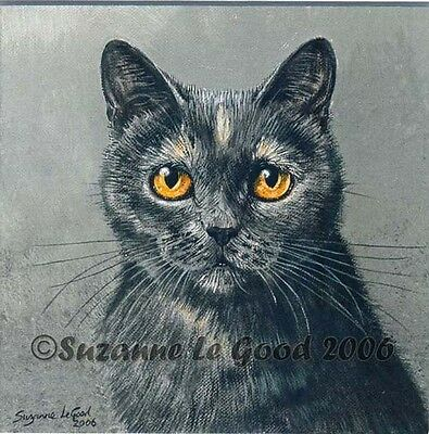 Limited Edition Blue Tortie Cat Print From Original Painting By Suzanne Le Good