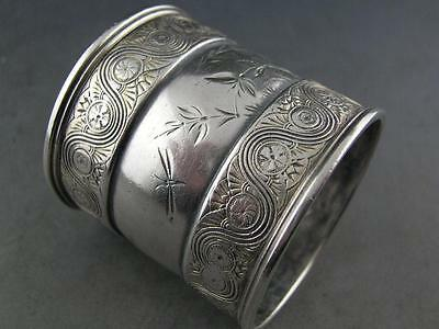 Sterling GORHAM Napkin Ring AESTHETIC w/ engraved foliage & dragonfly