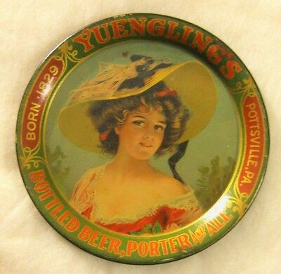 Pre Prohibition Yuengling Beer Metal - Tin Litho Tip Tray Pottsville Pa Girl