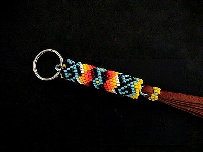 Auth.Native American Indian Beaded Key Ring/Leather Fringe by Ronald Catron