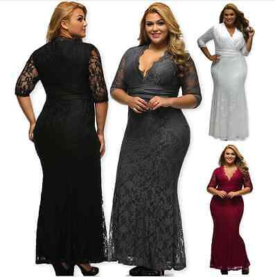 Women's Plus Formal Hourglass Lace Pageant Cocktail Evening Gala Ball Gown Dress