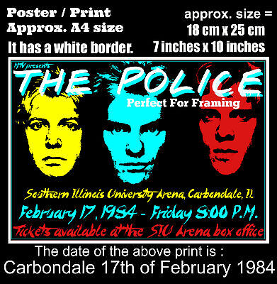 The Police live concert SIU Arena Carbondale 17th February 1984 A4 poster print