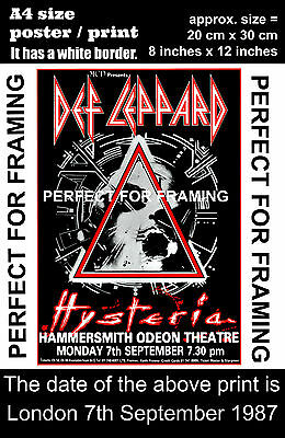 Def Leppard live Hammersmith  London 7th September 1987  A4 size poster print